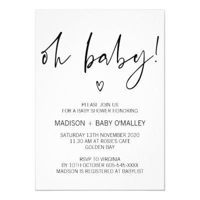 Modern Black and White Oh Baby Shower Invitations
