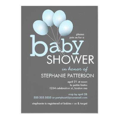 Modern Blue Balloon Boy Baby Shower Invitations