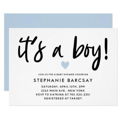 Modern Blue Heart Its A Boy Baby Shower Invitation