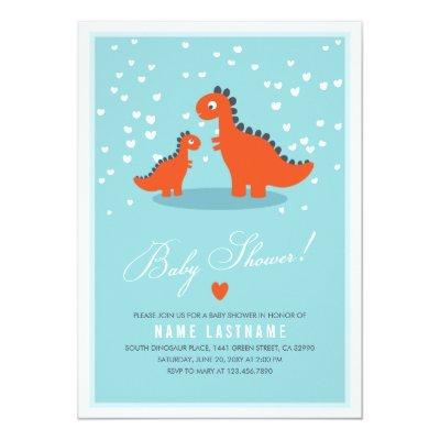 Modern Blue Orange Dinosaur Baby Shower Invitations