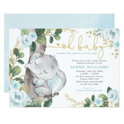 Modern Blue Roses Jungle Elephant Boy Baby Shower Invitation