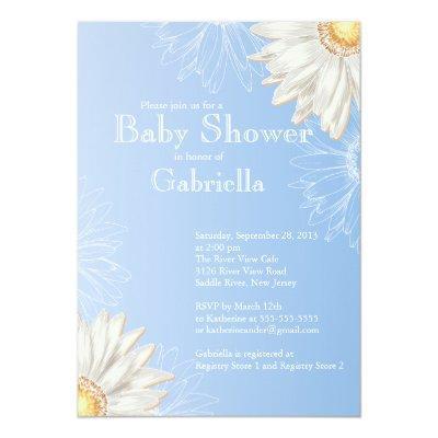 Modern Blue & White Gerbera Daisy Baby Shower Invitations