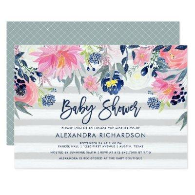 Modern Blush and Navy Floral Baby Shower Invitation