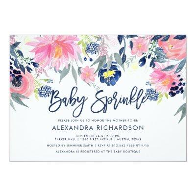 Modern Blush and Navy Floral Baby Sprinkle Invitations