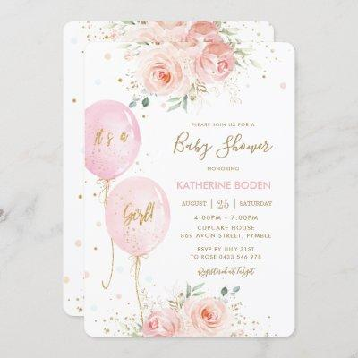 Modern Blush Pink Floral Balloons Gold Baby Shower Invitation
