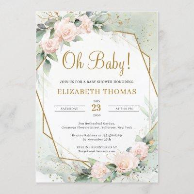 Modern Blush Pink Floral Greenery Gold Oh Baby Invitation