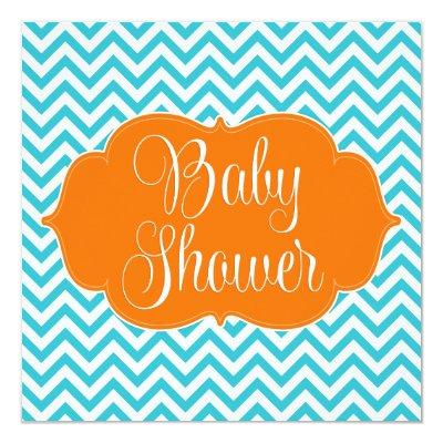 Modern Chevron Teal Orange Baby Shower Invitation