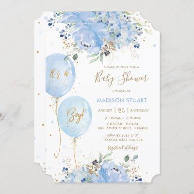 Modern Chic Blue Floral Balloons Boy Baby Shower I Invitation