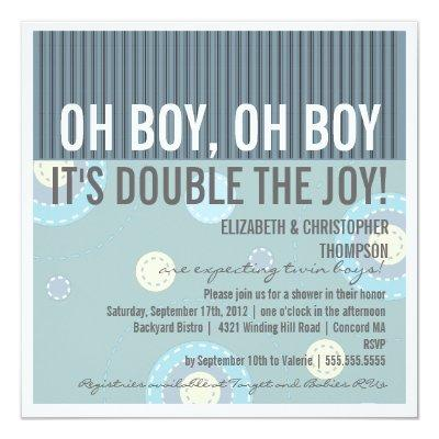 Modern Couples Twin Boy Baby Shower Invitations