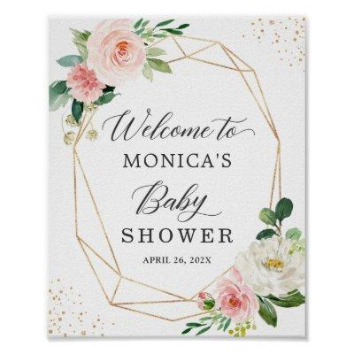 Modern Cute Geometric Floral Baby Shower Sign