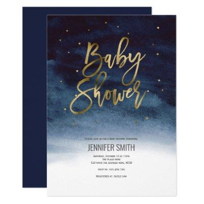 Modern, Elegant, Watercolor, Baby Shower Invitation