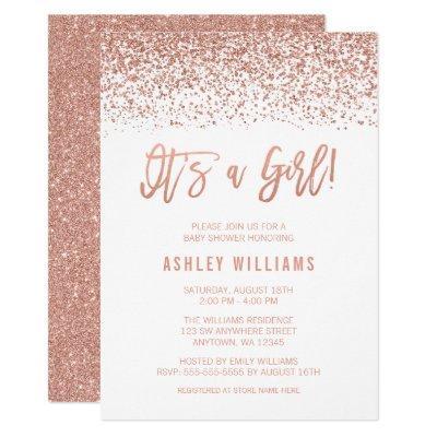 Modern Faux Rose Gold Glitter Girl Baby Shower Invitations