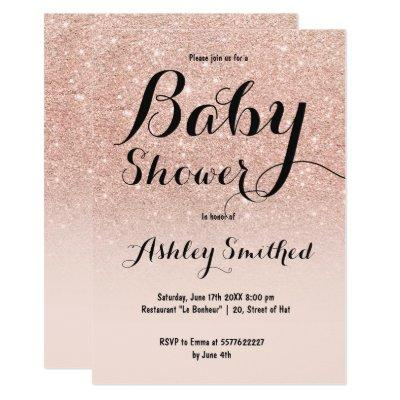 Modern faux rose gold glitter ombre baby shower invitation