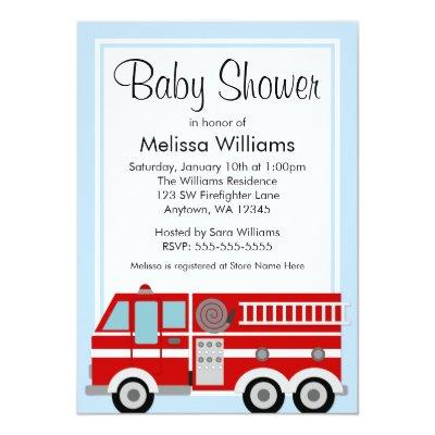 Modern Fire Truck Boy Baby Shower Invitation