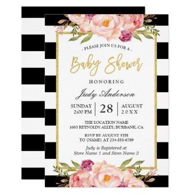 Modern Floral Gold Black White Stripes Baby Shower Invitations