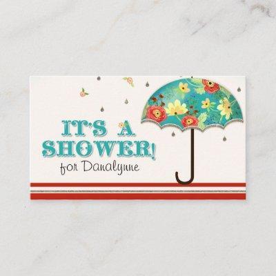 Modern Floral Ranunculus Umbrella Diaper Raffle Enclosure Card