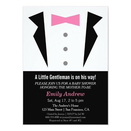 Modern Gentleman Tuxedo Bow Tie Baby Boy Shower Invitations