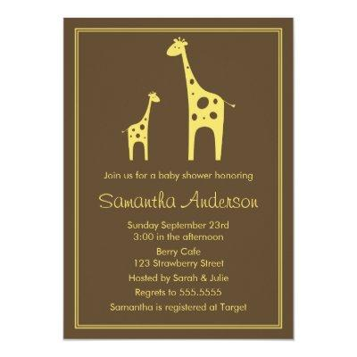 Modern Giraffe Baby Shower Invitation - Neutral