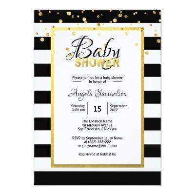 Modern Gold Black White Stripes Baby Shower Invitations