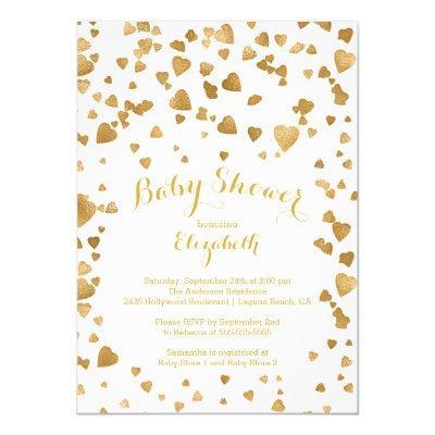Modern Gold Confetti Hearts Baby Shower Invitations