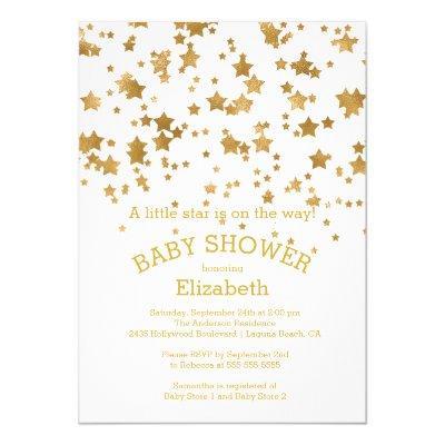 Modern Gold Little Star Baby Shower Invitations