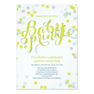 Modern Green Blue White Baby Sprinkle Invitations