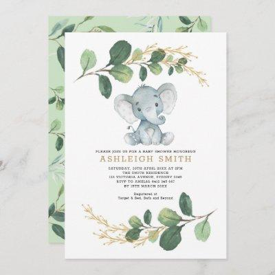 Modern Greenery Elephant Jungle Baby Shower Invitation