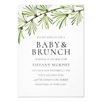 Modern Greenery Neutral Baby Shower Brunch Invite