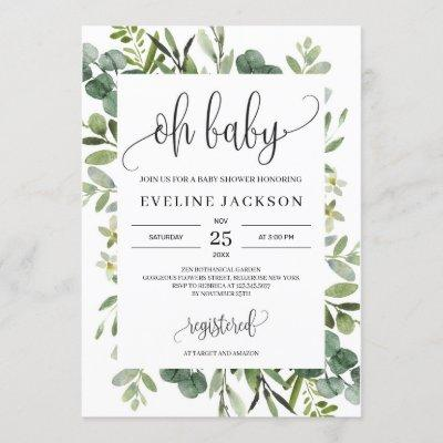 Modern greenery succulent florals oh baby shower invitation