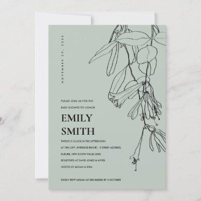 MODERN GREY LINE DRAWING FLORAL BABY SHOWER CARD