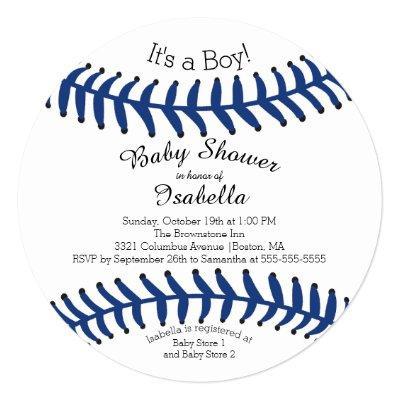Modern It's A Boy Baseball Baby Shower Invitations