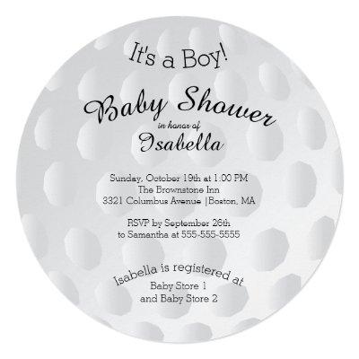 Modern It's A Boy Golf Ball Baby Shower Invitation