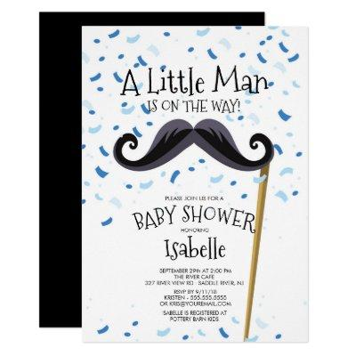 Modern Little Man Mustache Baby Shower Invitations
