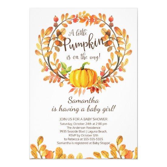 Modern Little Pumpkin Baby Shower Invitations