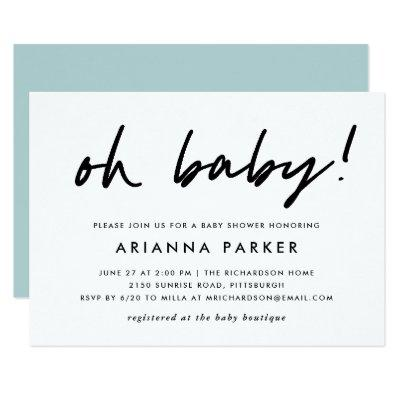 Modern Minimal Baby Shower | Blue Invitations
