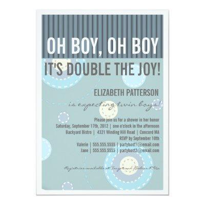 Modern Mom Twin Boy Baby Shower Invitations