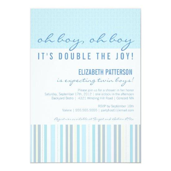 Mom Twin Boy Baby Shower Invitation