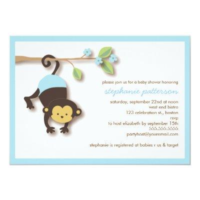 Modern Monkey Sweet Boy Invitations