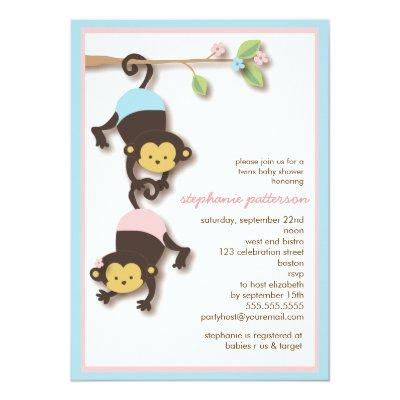 Modern Monkey Twin Girl & Boy Baby Shower Invitations