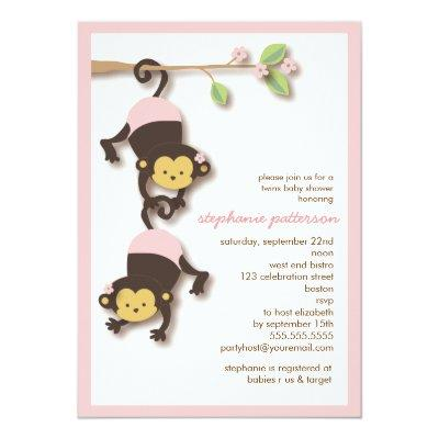 Modern Monkey Twin Girls Invitations