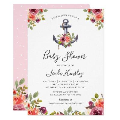 Modern Nautical Anchor Floral Girl Baby Shower Invitations