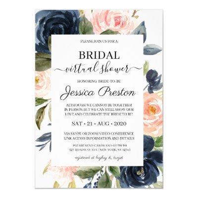 Modern Navy Blush Floral Virtual Bridal Shower Invitation