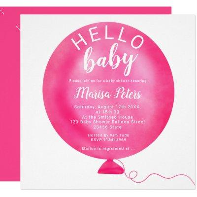 Modern neon pink balloon watercolor baby shower invitation