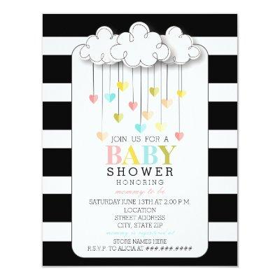 Modern Neutral Baby Shower Black + White Clouds Invitations