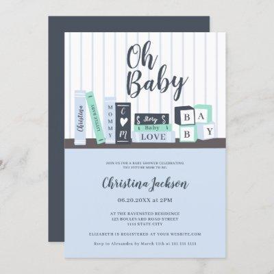Modern oh baby blue book library shelf baby shower invitation