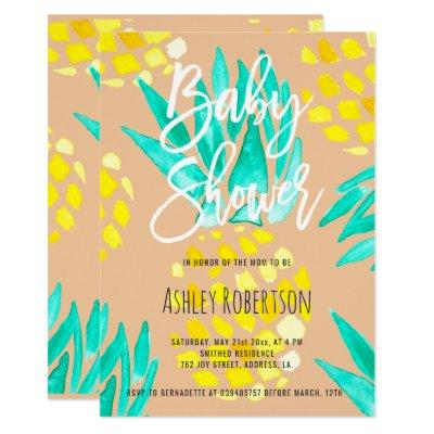 Modern peach baby shower watercolor pineapples invitation