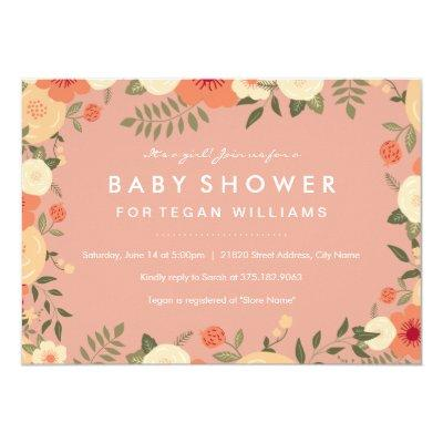 Modern Peach Floral Baby Shower Invitations