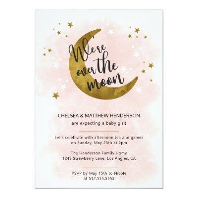 Modern Pink Calligraphy Over The Moon Baby Shower Invitation