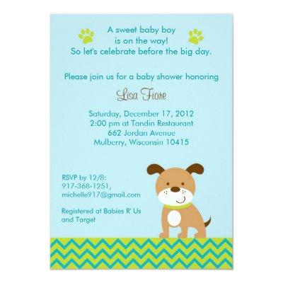 Modern Puppy Baby Boy Baby Shower Invitations