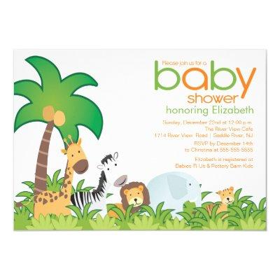 Modern Safari Animals Baby Shower Invitation
